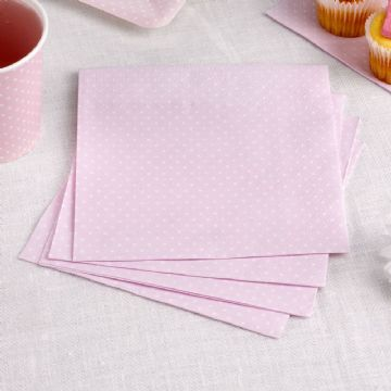 Pink & White Spotty Napkins - pack of 16